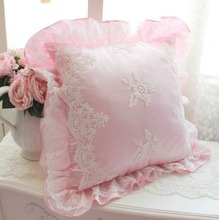 Princess pink white decorative throw pillow for girls