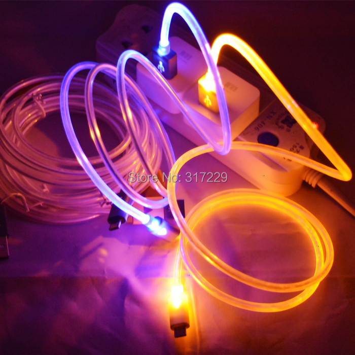New 6 Colors Beautiful 1M LED Light Durable Micro USB Cable Charger Data Sync Cord For Samsung Galaxy S3 S4 S5 HTC Android phone(China (Mainland))