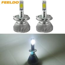 Buy FEELDO 2Pcs Super White H4 Hi/Lo 60W 6400LM Car COB LED Headlight Kit Fog Lamp Xenon Bulb 6000k #FD-2401 for $20.19 in AliExpress store