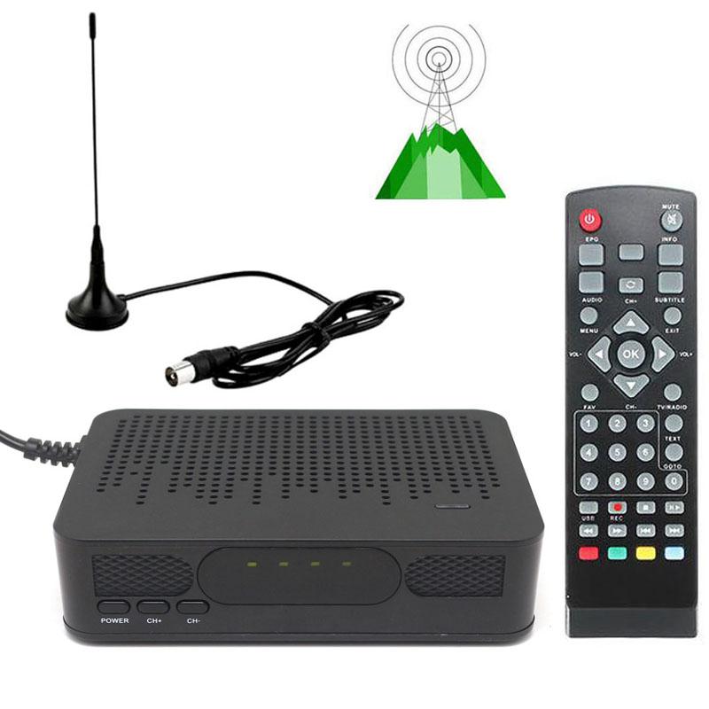 DVB-T2 Mini Size HD TV Digital Terrestrial TV Tuner FTA RECEIVER CONVERTOR + VHF UHF Antenna 1080P Set Top BOX HDMI Playback(China (Mainland))