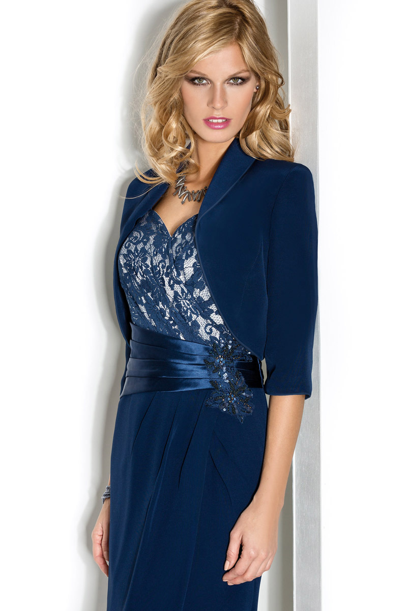 Mother dresses Evening Dresses Short mother of the bride dresses with jacket Dark Navy Chiffon Mother