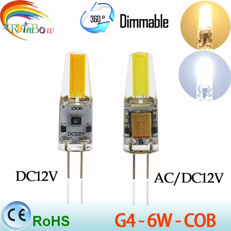 Mini G4 LED Lamp COB LED Bulb 3W6W DC/AC 12V LED G4 COB Light Dimmable 360 Beam Angle Chandelier Lights Replace Halogen G4 Lamps(China (Mainland))
