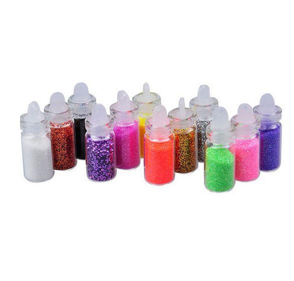 1Set, 12 Color Nail Glitter Powder Decor Nail Art Powder Dust Bottle Set(China (Mainland))