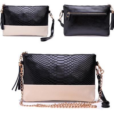 2015 Genuine Leather Women Bag Tassel Handbags Alligator Pattern Chain Shoulder Bags Crocodile Women Clutch HB-120(China (Mainland))