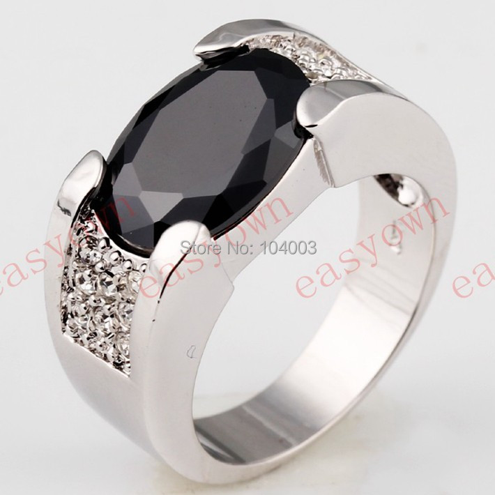 Black Sapphire White Gold Filled Ring Men's 10KT Finger Rings Anel Feminino Man 2015 Fashion Jewelry Size 9 /10/11/12 B0600-601(China (Mainland))