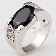 Black Sapphire White Gold Filled Ring Men's 10KT Finger Rings Anel Feminino Man 2014 Fashion Jewelry Size 9 /10/11/12