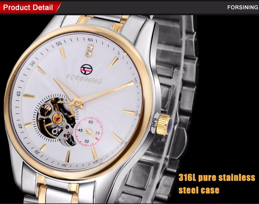 2016 FORSINING марка мужчины часы бизнес автоматическая самостоятельная ветер смотреть белый tourbillion наберите импортные 316L стальной браслет