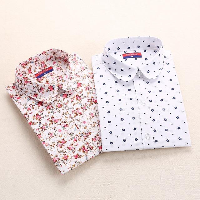 Женская хлопковая рубашка с отворачиваемым воротником, цвет красный, голубой. Размер ...