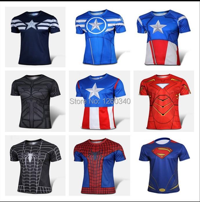 NEW 2016 Marvel Superman America Super Hero jersey American T shirt Men USA cosplay costume short sleeve 4XL Drop ship(China (Mainland))