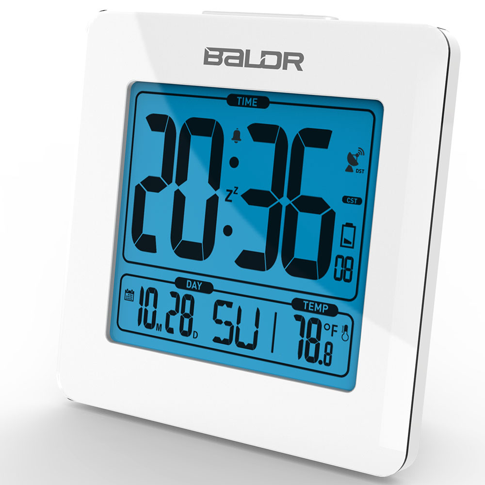 BALDR Atomic Alarm and Snooze Clocks Blue Backlight Calendar Temperature Display Table Alarm LCD Clock Modern Desktop Time Watch(China (Mainland))