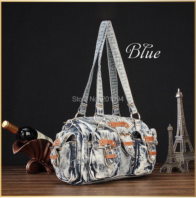 Vintage Fashion Design Trendy Style Casual Denim Travel Bags for Girls Female Jeans Women Shoulder Bag Women's Tote Bags(China (Mainland))