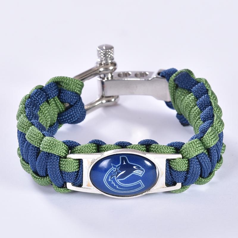 Vancouver Canucks Custom Paracord Bracelet NHL Team Hockey Bracelet Survival Bracelet, Drop Shipping! 6Pcs/lot!(China (Mainland))