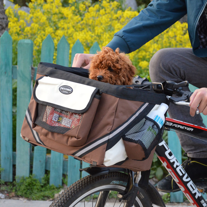 Protable Pet dog bicycle carrier bag basket Puppy Dog Cat Travel bike carrier Seat bag for small dog Products Travel Accessories(China (Mainland))