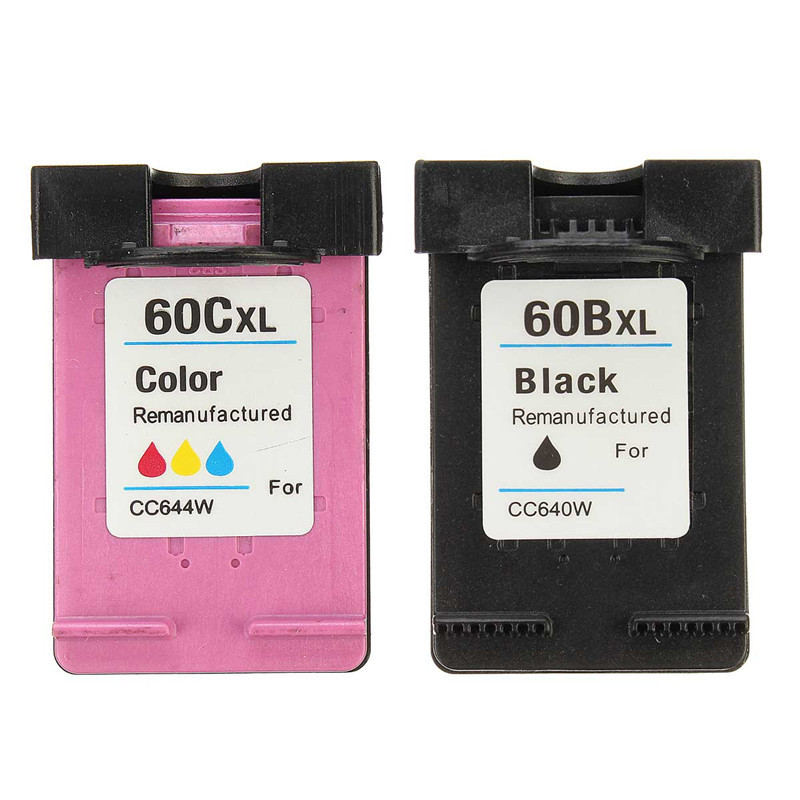 New for HP CC644W CC640W Black and Color Ink Cartridges for HP60 60xl for HP1050 HP2050 1000 HP1510 for HP Deskjet Printer(China (Mainland))
