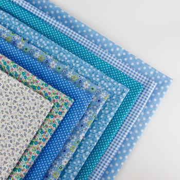 8pcs blue bunting fabric 50 cm x 50 cm print cotton fabric bundle DIY handmade quilt patchwork fabrics