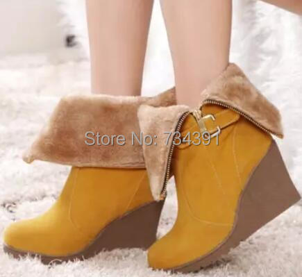 Nubuck Genuine Leather boots shoes woman Wedges high heels winter boots 2015 free shipping snow boots women boots In tube(China (Mainland))