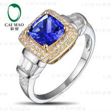 Buy CaiMao 18KT/750 White Gold 1.45 ct Natural IF Blue Tanzanite AAA 0.32 ct Full Cut Diamond Engagement Gemstone Ring Jewelry for $649.38 in AliExpress store