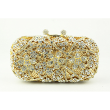 2016 Gold Evening Clutch Bag for Women Rhinestone Crystal Clutch Evening Purse China Handmade Bridal Purse with Golden Chain