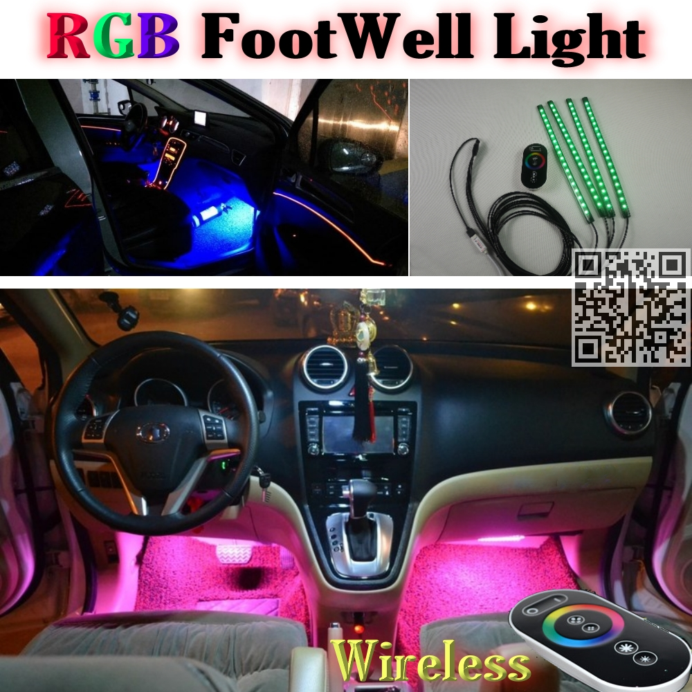 2.4G Wireless Control 360 RGB Color Neon Glow Interior UnderDash Foot / FloorSeat Accent Ambient Light For Ford Edge(China (Mainland))