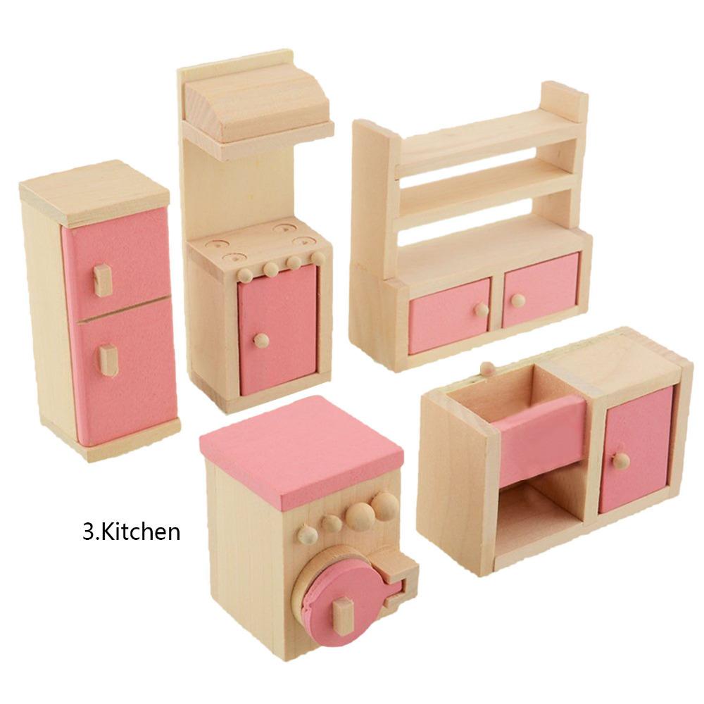 Entzückende holz miniatur puppenhaus möbel set kinder spielzeug ...