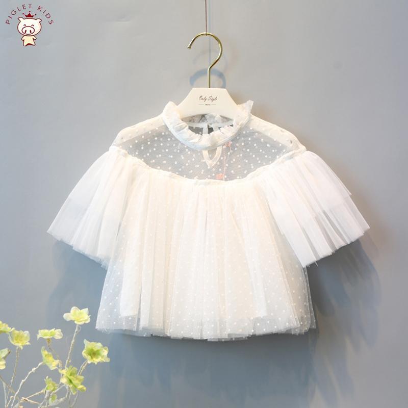 White lace girl tee tops kids baby girls t shirts princess clothing summer new beautiful children kids short sleeve t-shirts(China (Mainland))