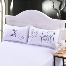 Her and His Side Pillow Case Christmas Romantic Anniversary Wedding Valentine's Gift for Him or Her Super Soft Pillow Cover(China (Mainland))