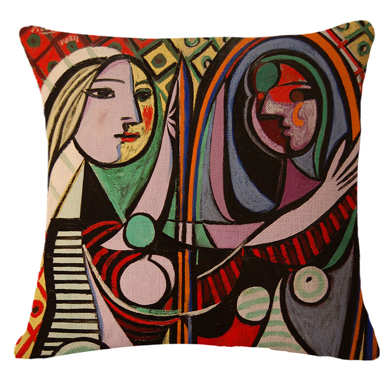 Classic European Style Cushion Cover Famous Painter Picasso Pillow Case Square Waist almofada Home Textile Throw Pillows Cover(China (Mainland))