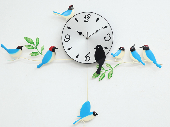 A060 wall clock clocks painting birds home decor decoration new design swing garden blue orange red - Artful store