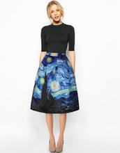 New 2016 Autumn Style Vintage Skirt High Waist Work Wear Midi Skirts Womens Van Gogh painting clouds printing Jupe Femme Saias