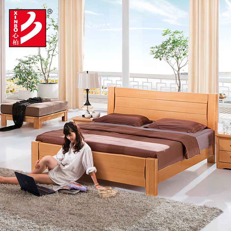 Bedroom Furniture Sets Solid Wooden Home Furniture Beech Wood Bed Double Bed Design Furniture In