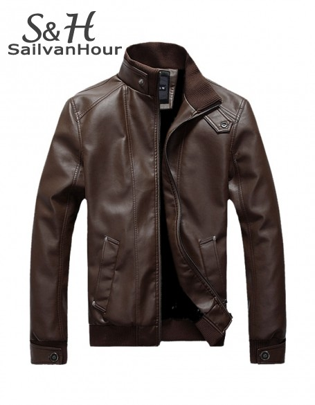 2014 New Men's Slim Leather Jacket Men Water Wash Motorcycle Leather Jacket Outerwear Pu Coat 2 color 4 size L-XXXL 18(China (Mainland))