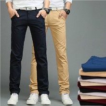 2015 New Arrival men Pants Men's Slim Fit Casual Pants Fashion Straight Dress Pants Skinny Smooth Trousers(China (Mainland))