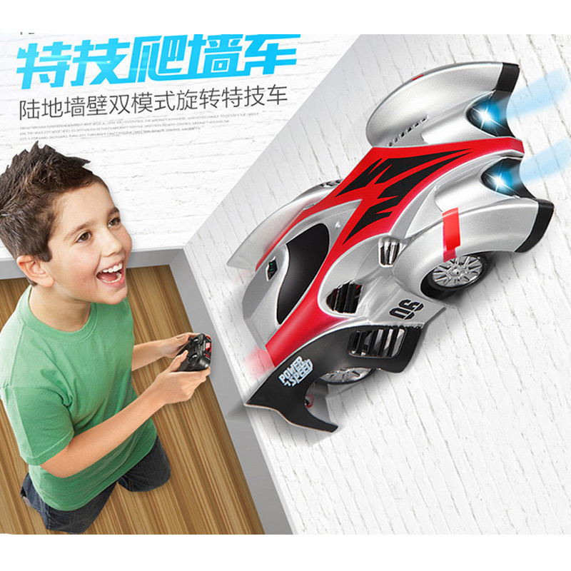 2016 New 2 Types 13.3cm ABS Climbing Wall RC Car Educational Mini Flashing Electric Remote Control Car Come With Box Kids Gift(China (Mainland))