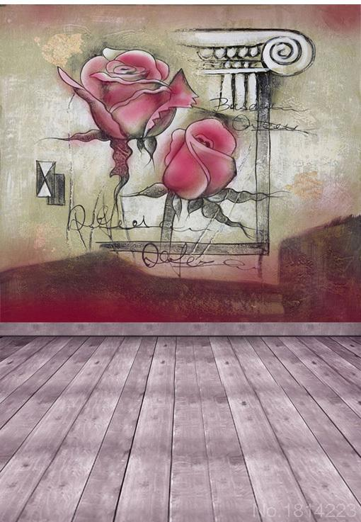 3x5FT Customize Background Backdrop Indoor Wedding Portrait Rose Color Concrete Wall Wooden Floor Photo Studio Printing 1x1.5m(China (Mainland))