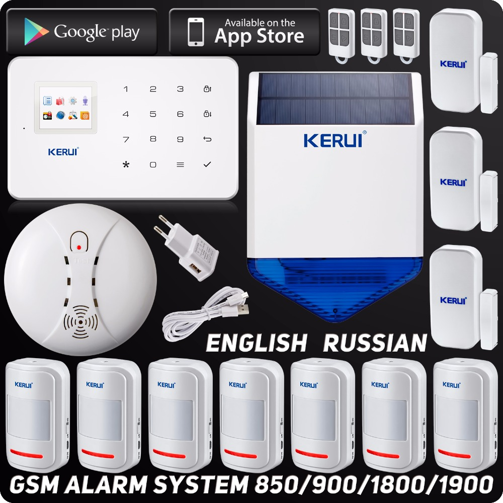 English Russian Kerui Wireless GSM Home Security Alarm System Solar Flash Siren ISO Android APP Wireless Smoke Detector(China (Mainland))