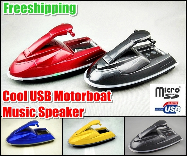Freeshipping + Super Cool USB Motorboat Ship Model Music Speaker Support USB SD TF FM MP3 For MP3 Player Cell Phone Tablet PC(China (Mainland))