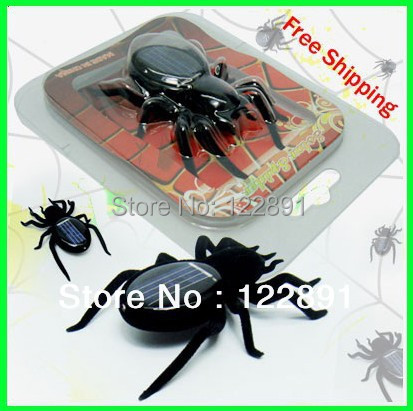 HOT Sale! Solar Spider Toy Funny Solar Powered Spider Robot Toy For Children (Black) 15pcs/lot Free Shipping(China (Mainland))