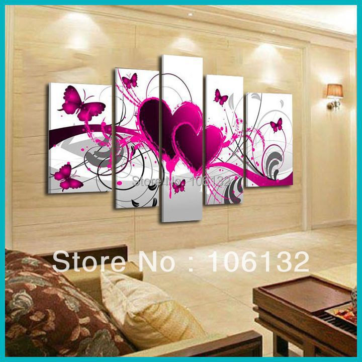 Large Heart Wall Decor : Aliexpress buy framed panel large high end amazing