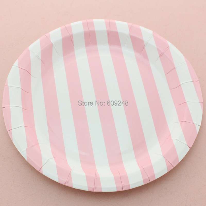 baby shower party pink striped round paper plates disposable paper