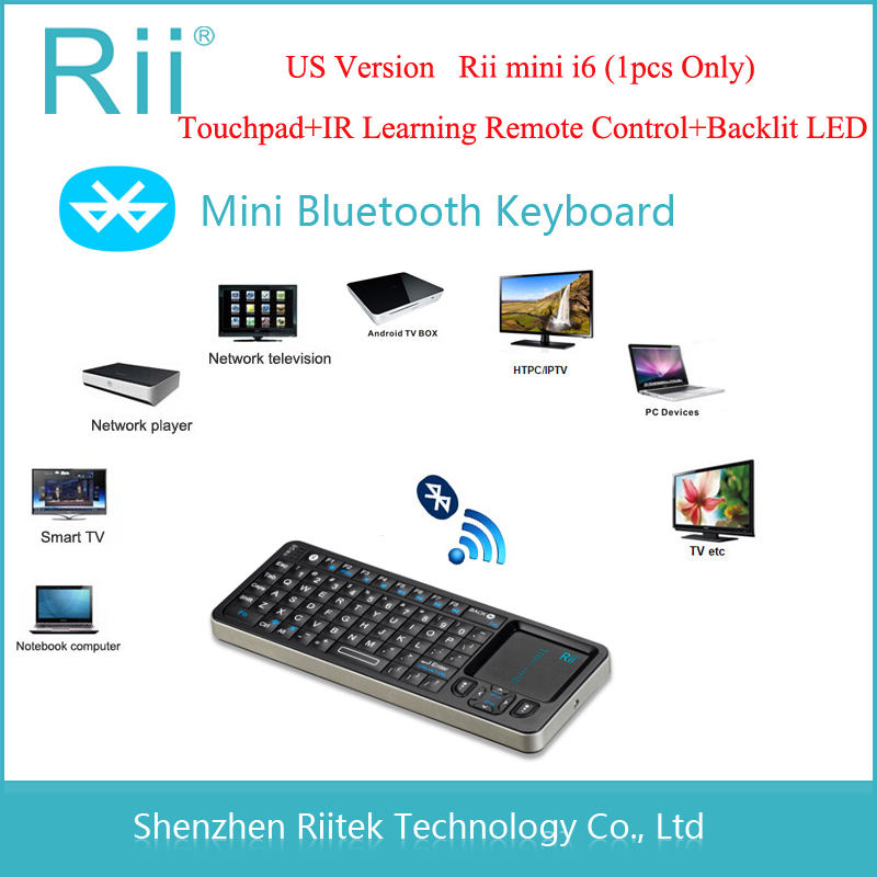 Rii mini i6 k06 Bluetooth Keyboard IR Learning Remote Control Backlit LED Touchpad Teclado for PC Tablet Andorid/Smart TV Box(China (Mainland))