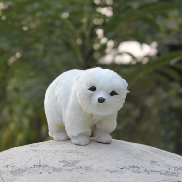 Synthetic Fur Covered Plastic Cute Small Lovely White Bear Toy For Sale(China (Mainland))