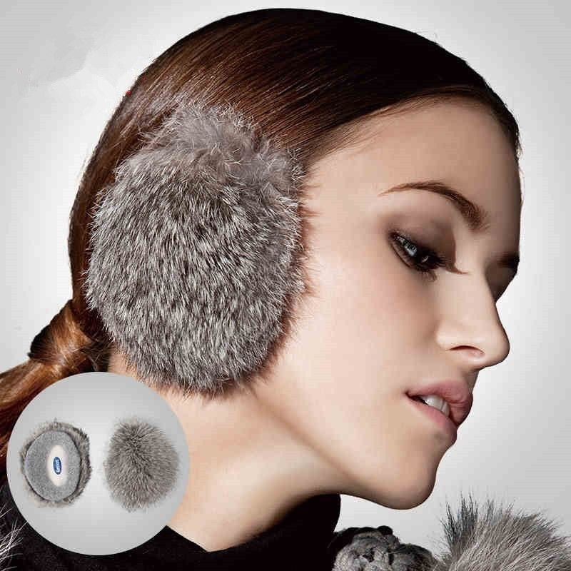 New Unisex Women Men Winter Ski Outdoor Grey Color 100% Rabbit Fur Hair Ear Warmer Earmuffs Earbags 3939 Size S M L(China (Mainland))