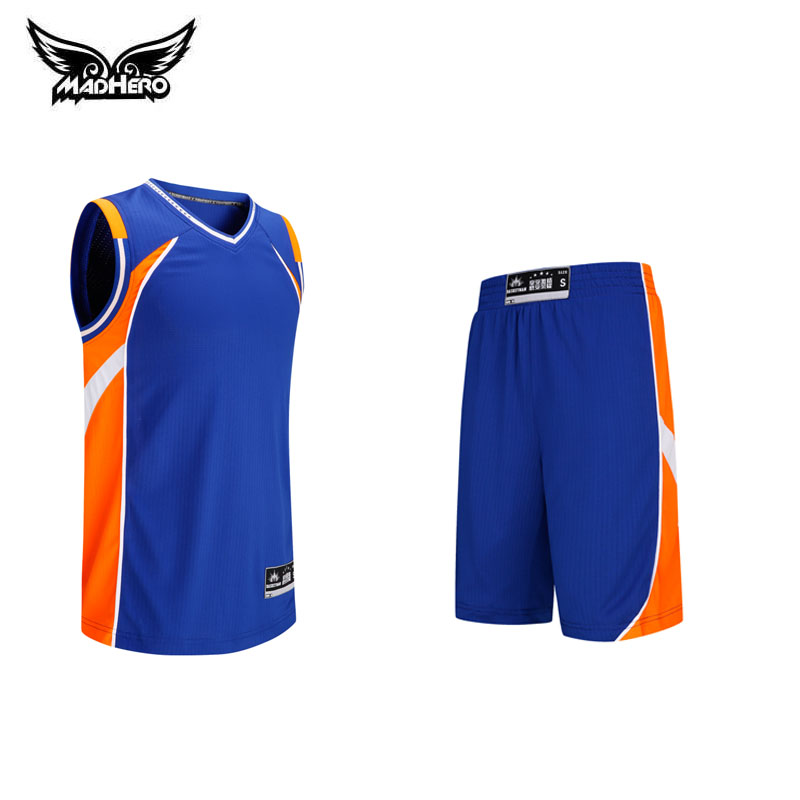 Madhero sleeveless basketball jersey Set plus size customize letter logo jersey blue orange red black college basketball jersey(China (Mainland))