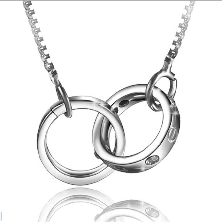 New Arrival Wholesale Sweet Gift Silver Platinum Plated Lovers Necklace Pendant Women 40cm Chain XL511-Women(China (Mainland))
