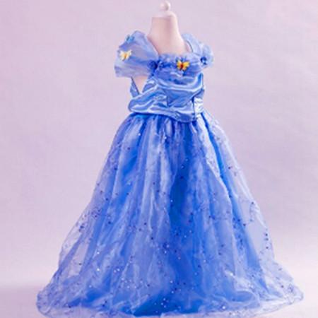 Hot Sale Children Cartoon Cosplay Character Dress Cotton Silk Tassel Dress Butterfly Decoration Elsa Princess Blue Puff Dress(China (Mainland))