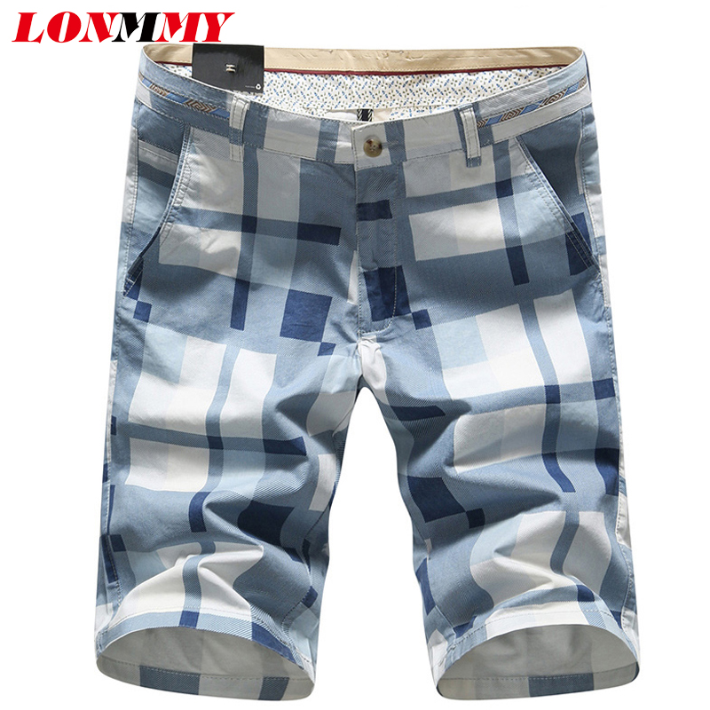 LONMMY Beach shorts plaid Cotton Military style Cargo shorts men Casual Board shorts men Summer 2016 Blue Yellow Beige(China (Mainland))