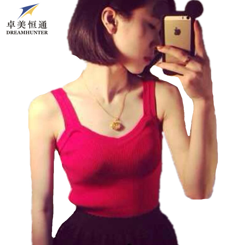 New Fashion Brand Women 2015 Summer Sexy Camis Sleeveless Cotton Knitted Solid Casual Bodycon Tops Vest Black White Gray Red(China (Mainland))