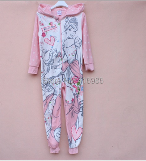 kids girl cartoon princess one piece blanket sleeper pajamas child sleepwear hooded pyjamas autumn winter(China (Mainland))
