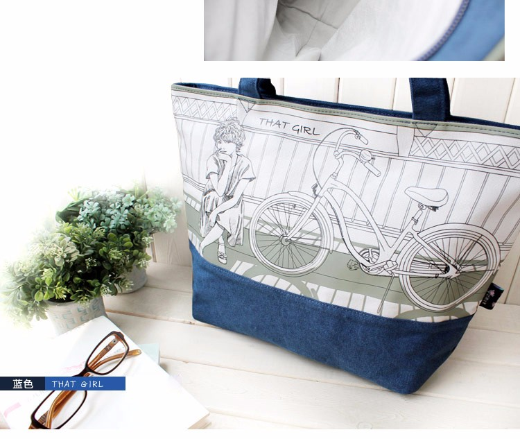 2016 New Fashion Printing Ladies Tote Bag Fresh And Preppy Style Cartoon Hand Bag Women Designer Blue&Beige Canvas Shoulder Bag