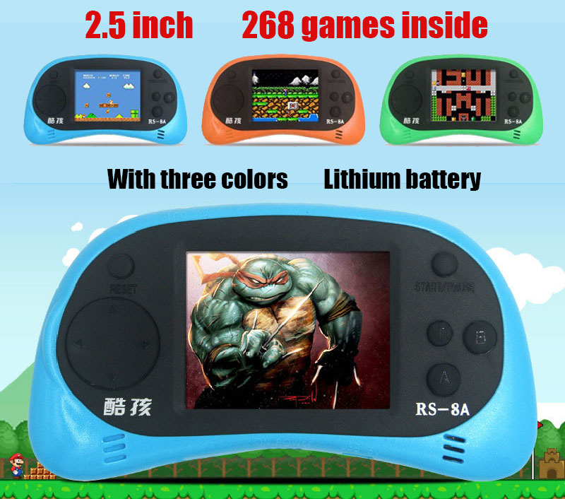 RS-8A Video Game Console 8 Bit 2.5 inch Handheld Game Player Built-in 260 Different Games Children's Game Color Tetris(China (Mainland))